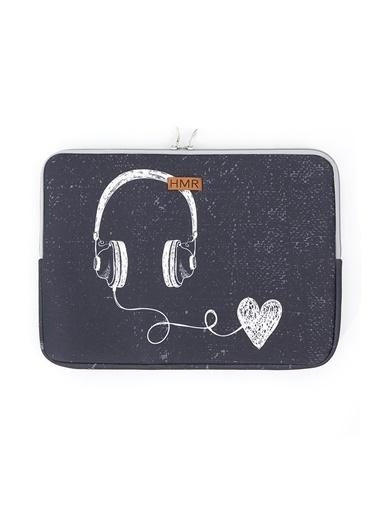 Hamur Easy Case 14 inç Laptop Çantası Notebook Kılıfı Music New Gri